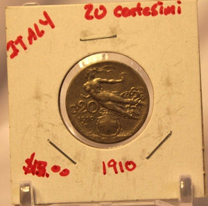 1910 Italy 20 Centesimi Coin with Display Holder thecoindigger World Estate