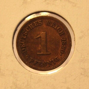 1890 F German Empire 1 pfennig Coin with Holder thecoindigger World Coin Estate