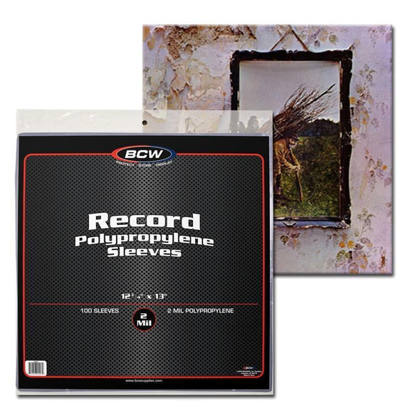 100 Record Album Sleeves BCW 33 RPM Vinyl Cover Bags 12 3/4 x 13 Archival Safe