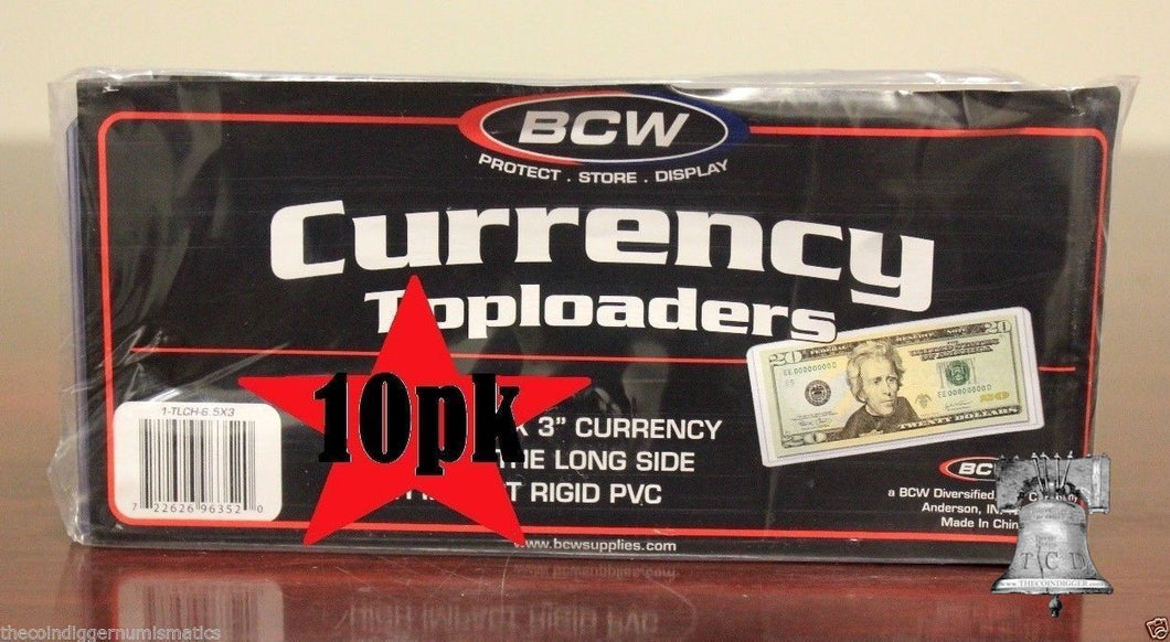 10 BCW Rigid Currency Banknote Holder Regular Dollar Bill Note Topload Case