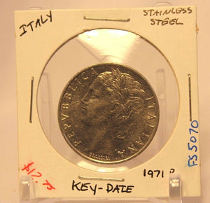 1971 Italy Key Date 100 Lira Coin with Holder thecoindigger World Estates