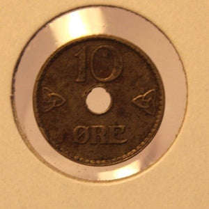 1924 Norway 10 Ore Lyoness Symbol Coin with Holder thecoindigger World Estate