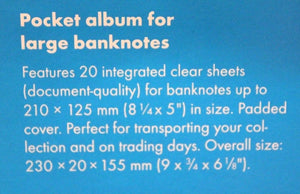 LARGE Banknote Album Currency Money Post Cards + 20 Deluxe Semi Rigid Toploaders