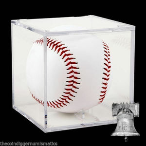 Baseball Holder Acrylic Grandstand Cube Deluxe Display Clear Storage Case Stand