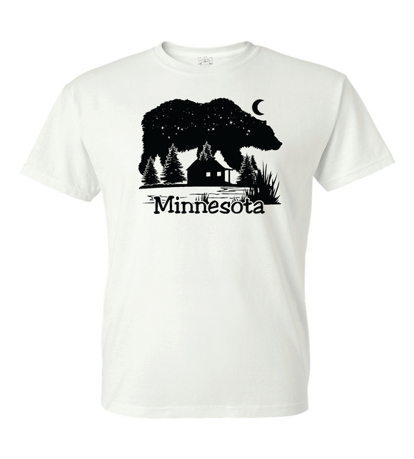 Minnesota Cabin on a Lake with Bear as the night sky T- Shirt