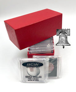BCW Coin Holder Snap + Red Single Row Storage Box 4.5x2x2 Case
