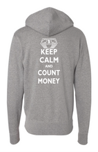 Load image into Gallery viewer, TCD Keep Calm & Count Money Premium Full Zip Hoodie Heather Grey Logo