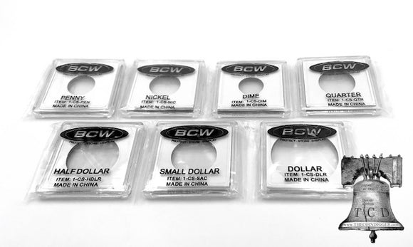 BCW 2x2 Coin Holder Snap Storage Capsule Case 7 U.S. Mint Sizes Frame Display