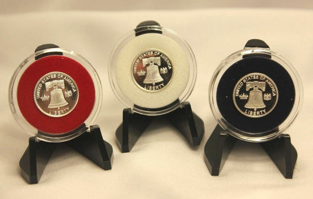 TCD Red White Blue Black Coin Holder Capsule Case 1 Gram Silver Gold Bar & Black or Clear Display Stand