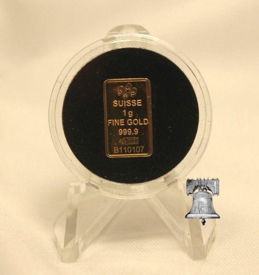 TCD Red White /& Blue Coin Holder Capsule 1 Gram Silver Gold Bar /& Clear Stand