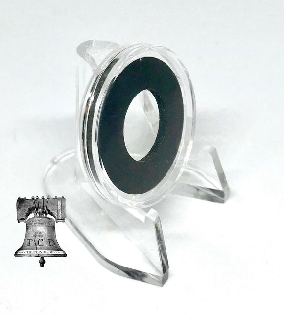 Air-tite Coin Holder Capsule Model A Black White Ring 10-19mm Case + Clear Stand