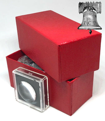 5 Magnicap 2x2 Magnifier 14-20mm Coin Holder Snap Capsule Case + Red Storage Box