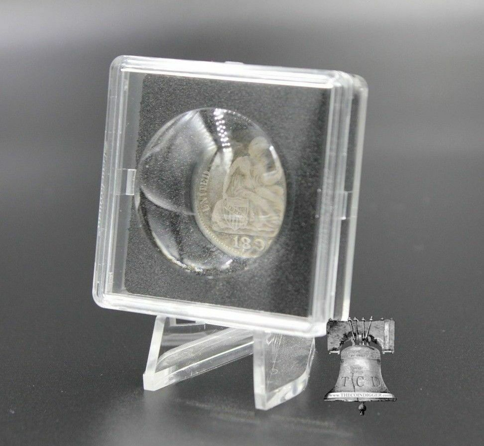 MAGNICAP 2x2 Coin Holder Capsule Magnifier 14mm-20mm Lighthouse Case + Easel Stand