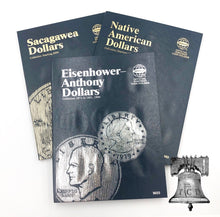 Load image into Gallery viewer, Whitman Album Cent Nickels Dimes Quarters Sacagawea Eisenhower Half Dollars Silver Large Dollars Liberty Walking COMBOS
