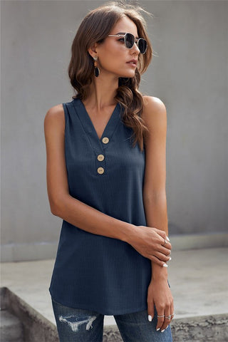 Navy Ribbed Tank