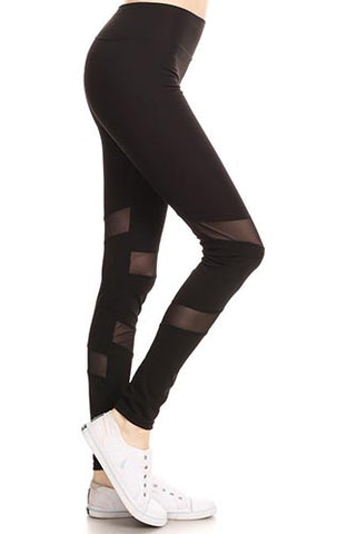 Black Legging with Sheer Detail