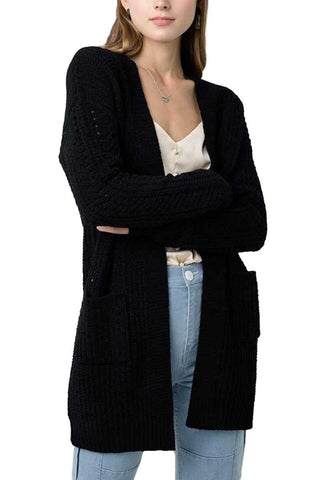 Black Chenille Pocket Cardi