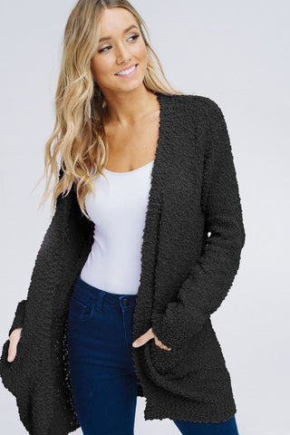 Black Popcorn Pocket Cardi