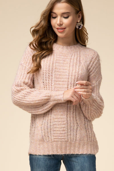 Blushing Cable Knit Sweater