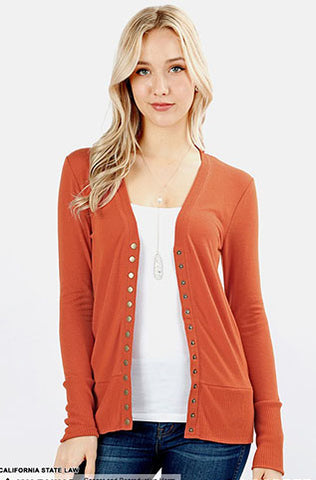 Button Up Cardi- Copper