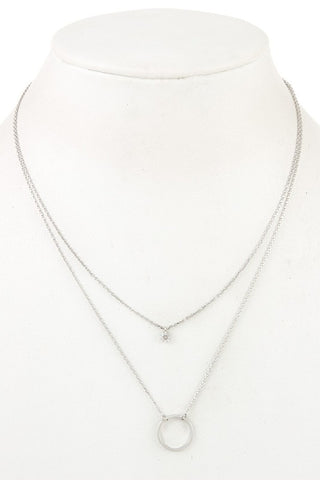 Silver Circle Layered Necklace