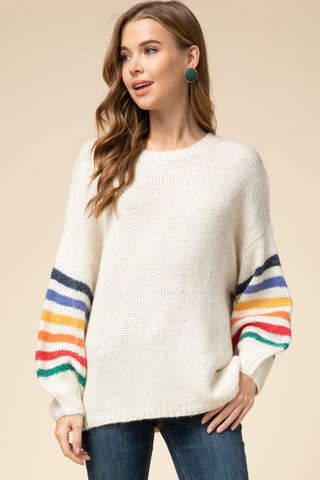 Cream Striped Sleeve Sweater