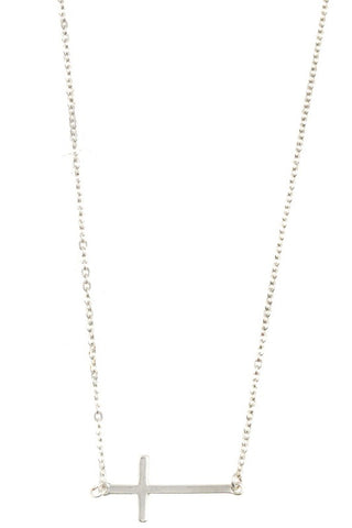 Dainty Horizontal Cross Necklace