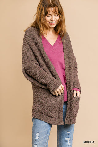 Favorite Popcorn Pocket Cardi- Mocha