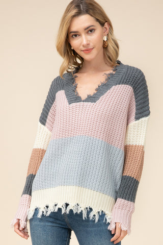 Frayed V Color Block Sweater