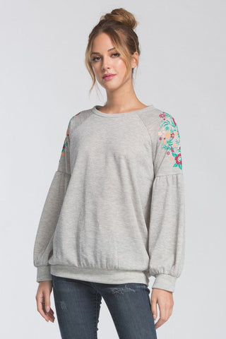 Grey Floral Puff Sleeve