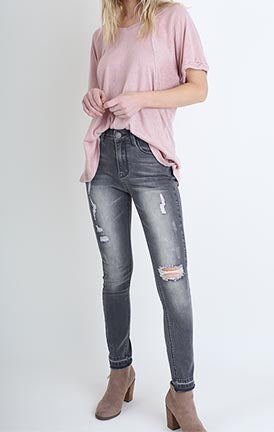Grey Distressed Hem Skinny