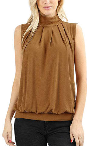 High Neck Pleated Top- Coffee