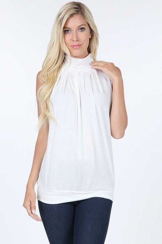 High Neck Pleated Top- Ivory