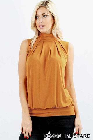 High Neck Pleated Top- Desert Mustard