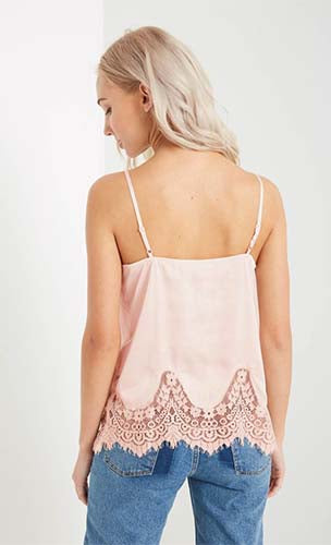 Scalloped Lace Satin Cami