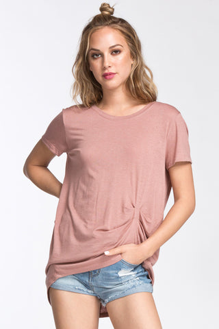 Ruched Tee- Mauve