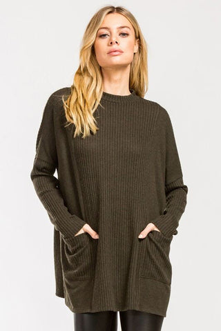 Ribbed Olive Sweater