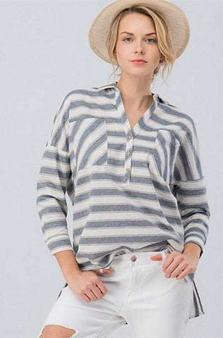 Oversized Navy Striped Linen