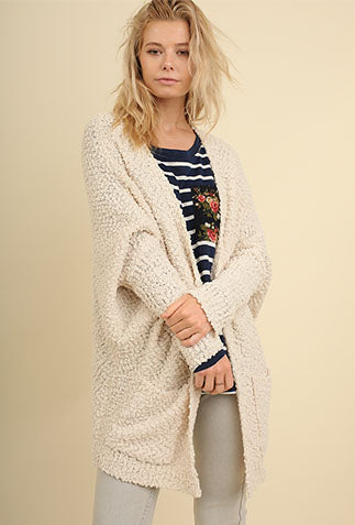Favorite Popcorn Pocket Cardi- Cream