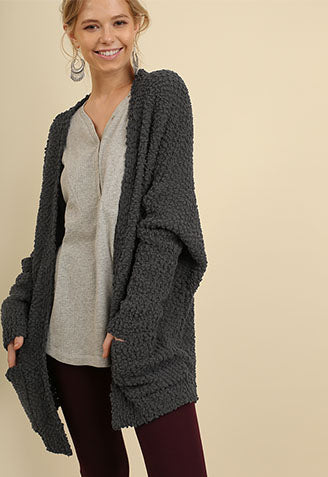 Favorite Popcorn Pocket Cardi- Charcoal