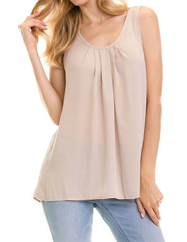 Pleated Taupe Tank