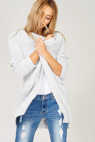 Popcorn Pocket Cardi- Light Grey