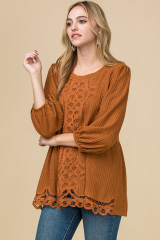 Pumpkin Lace Top