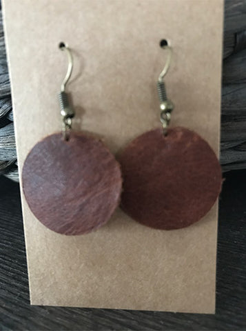 Leather Small Circle Earring