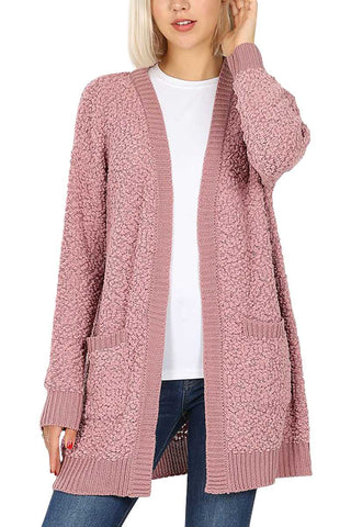 Rose Popcorn Pocket Cardi