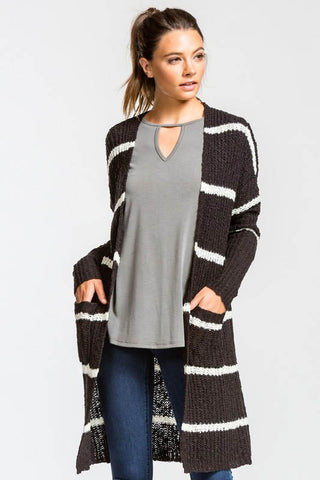 Striped Open Cardi- Black