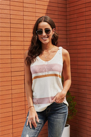 Striped Tie Shoulder Tank