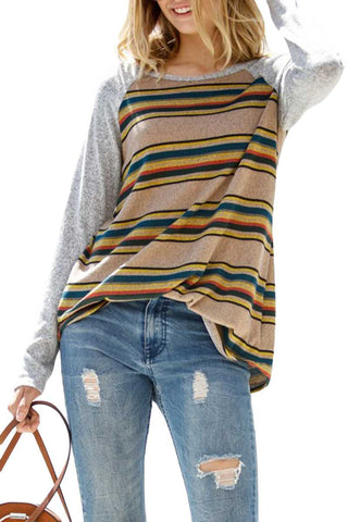 Taupe Striped Raglan