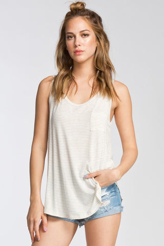 Taupe Striped Pocket Tank