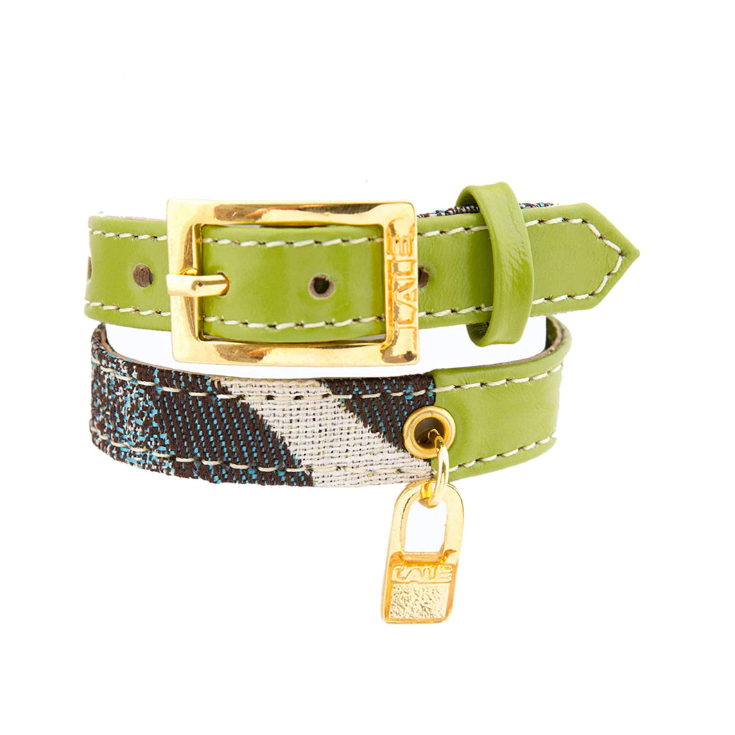Bracelet 2V - Green - LALE - LEATHER - BRACELETS